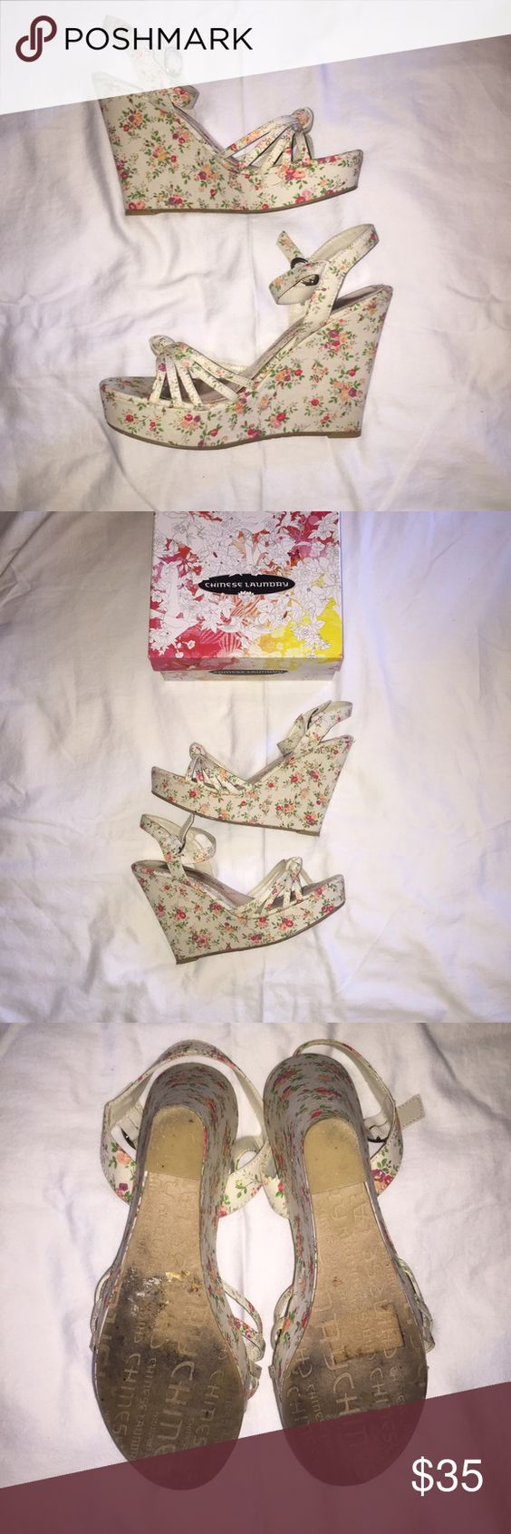 """NIB Chinese Laundry Desert Queen Floral Wedges NIB Chinese Laundry Desert Queen Floral Wedges in size 9.5 - they seem narrow like most CL shoes & I bought them for my size 9 feet.  Bought as DSW & never worn but they were tried on a lot in be store (see bottoms in pic 3) with slight toe marks on them as well.  Cream colored canvas with printed small floral, freaking adorable!  Wedge is 5"""" tall with platform about 1.25"""". Chinese Laundry Shoes Wedges"""