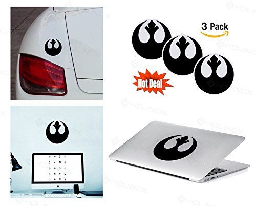 PACK of 3 Star Wars Rebel Alliance Sticker Decal for Macbook, Laptop ,Car Window, Laptop, Motorcycle, Walls, Mirror and More. MTS027 * Find out more details @ http://www.amazon.com/gp/product/B01AR9ICL2/?tag=superheroes025-20&pyx=070816025340