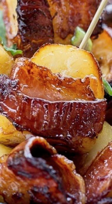 Bacon Wrapped Potatoes – Potato pieces, tossed in BBQ sauce, wrapped ...