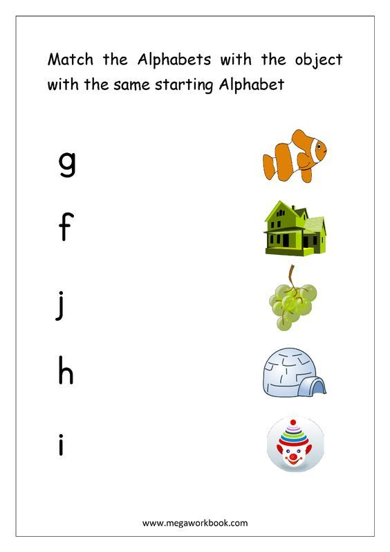 Alphabet Matching Worksheets Match Object With The Starting Alphabet Small Letter Matching Worksheet Alphabet Matching English Worksheets For Kindergarten