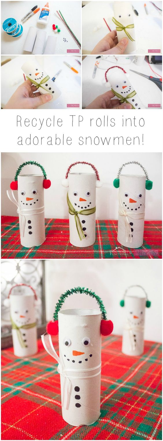Kids can make these DIY Christmas snowmen - easy to make from toilet rolls and pipe cleaners