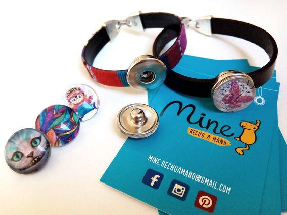 Pulseras #snap #button #handmade 4€ con un botón #personalizable #click Elige tu modelo #arale #mariposa #diseño #étnico #alicia #handmade #colores #cuero