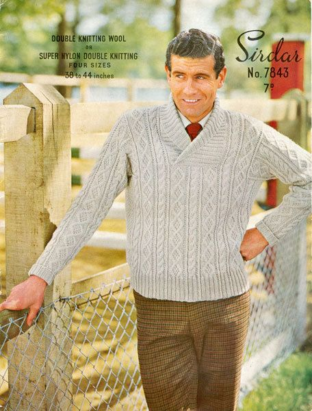 Knitting Pattern Guy : Sirdar 7843 Vintage Knitting Pattern Mans by ...