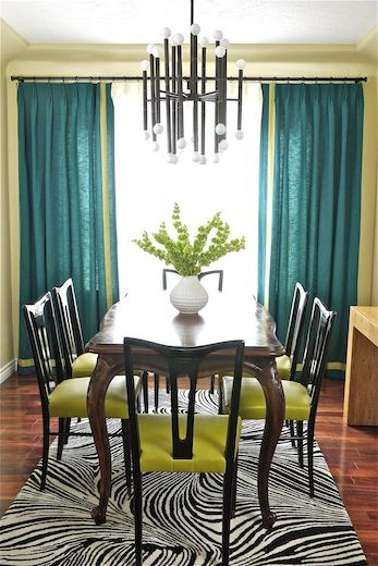 Teal and lime dining room interior with vintage re loved for Teal dining room table