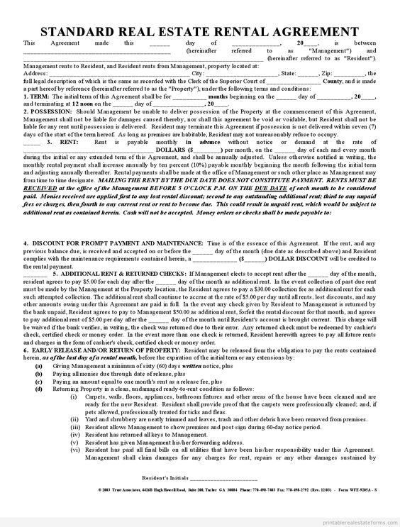 Printable Sample Standard Rental Agreement Form  Printable