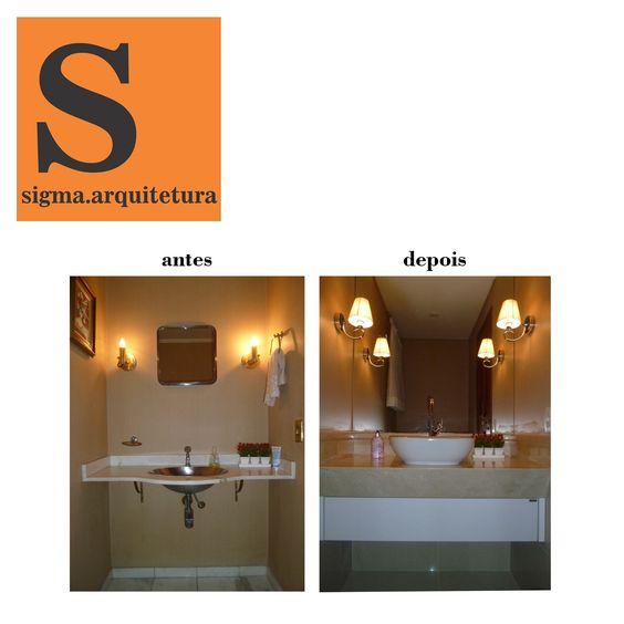 Projeto da Arquiteta Larissa Araujo Soares - Sigma Arquitetura. Antes e depois de um lavabo.