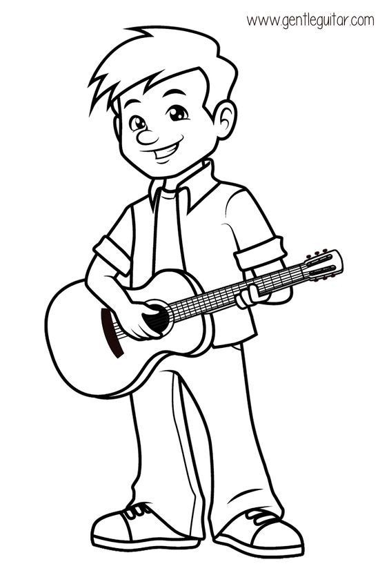 Coloring A Boy Playing Guitar Coloring Prepares Children