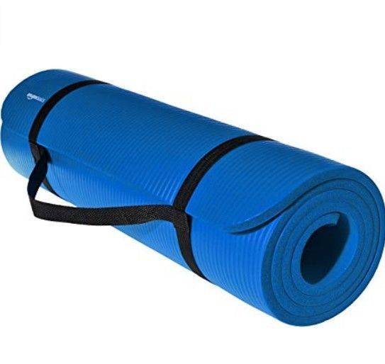 Amazonbasics 1 2 Inch Extra Thick Exercise Mat With Carrying Strap Blue Amazonbasics Sporting Goods Thick Exercise Mat Mat Exercises Best Home Gym Equipment