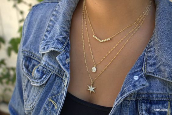 Layering Necklace Set, Delicate Layered Necklaces, Tiny Star Chevron Disc necklaces, Dlicate Gold Necklaces, Dainty necklace, layered necklace