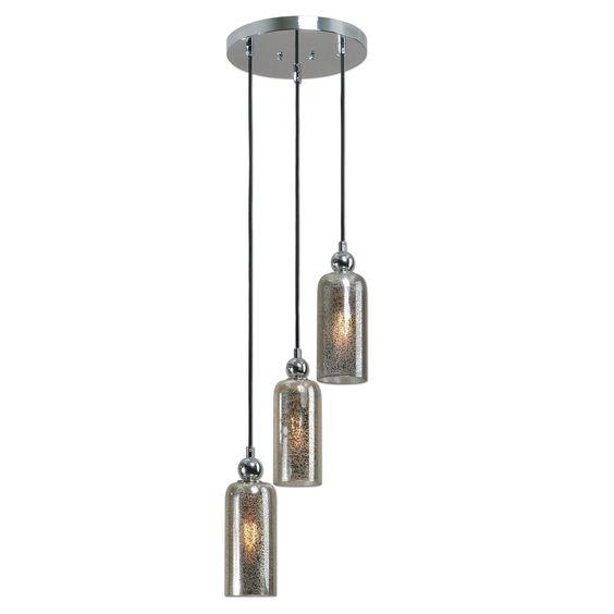 Triad 3 Light Mercury Glass Pendant