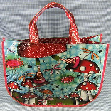 Witzige Einkaufstausche mit Fliegenpilzen und Libellen - Lustige ungewöhnliche Taschen MiaDeRoca Designer Shop