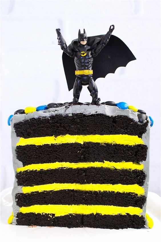 Batman Cake (includes recipe) - layers of chocolate cake, yellow icing and Batman's coloured M&M's on top