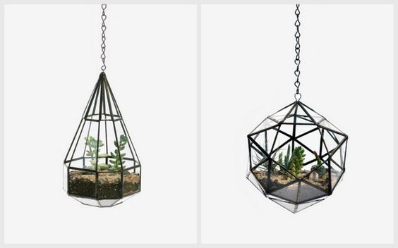 Hanging Terrariums by Score + Solder (via Grey Likes Nesting), can use patio tea light holders, perhaps?