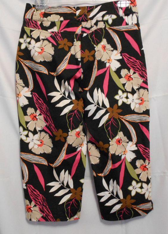 White Stag Stretch Petite Capri Size 6P Colorful Pockets Slit Legs Zip Button  #WhiteStag #CaprisCropped