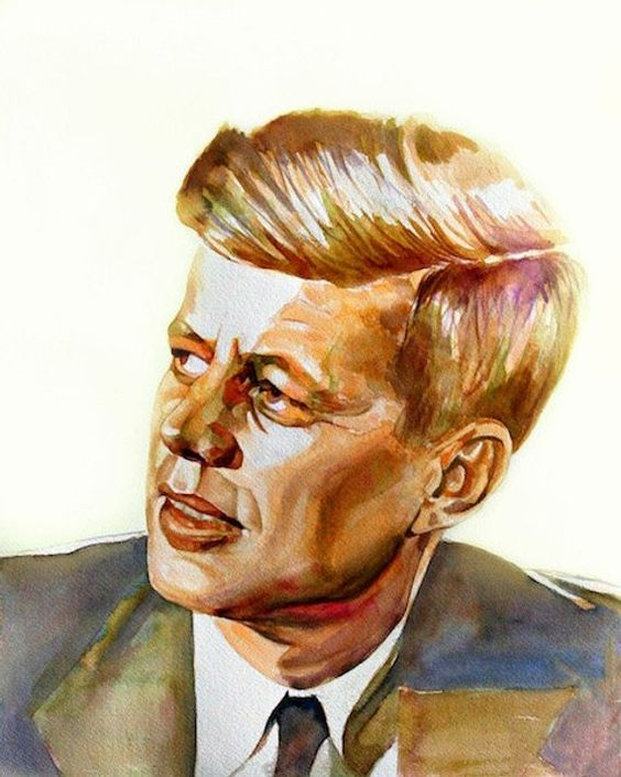 JFK, John Kennedy portrait of U.S. president, print from original watercolor portrait. Watercolor AR