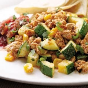 Southwestern Tofu Scramble  Cooking crumbled firm tofu in a skillet approximates the fluffy texture of scrambled eggs in this vegetable-studded, vegetarian main dish.  @eatingwell #dinner quick-healthy-dinner-ideas