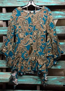 Tell Me About It Jade Paisley Shirt