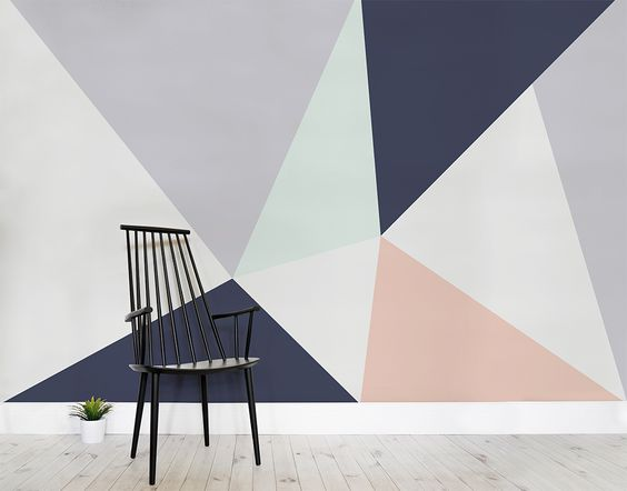 Scandi style feature walls and geometric wallpaper on for Modern wallpaper for walls designs