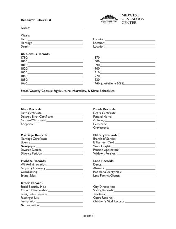 Blank Individual Data Sheet This helps to organize an ancestoru0027s - information sheet template