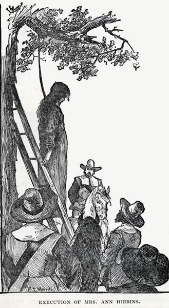 """Caption: """"Execution of Mrs. Ann Hibbins."""" Description: Often used as an illustration of the Salem witch trails, this illustration depicts the execution of Ann Hibbins on Boston Commons in 1657."""