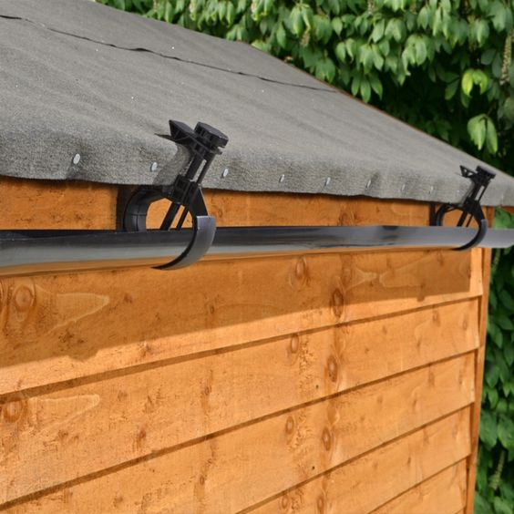 This innovative gutter kit easily clamps on to your shed roof without the need for specialist tools or equipment allowing you to easily collect rainwater for use in your garden. Ideal for use with a water butt for a simple rainwater harvesting solution. #gardensheds: