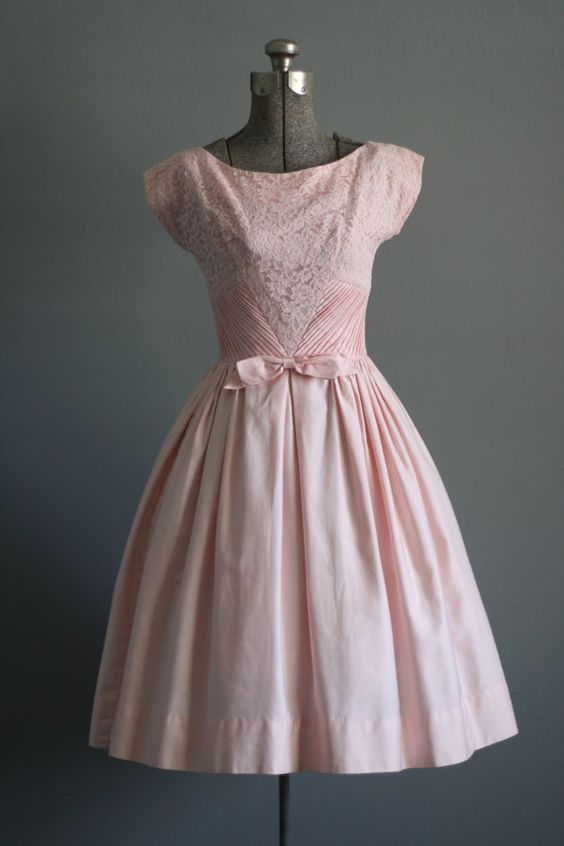 Vintage 50s Dress / 1950s Cotton Dress / Lorrie Deb Light Pink ...