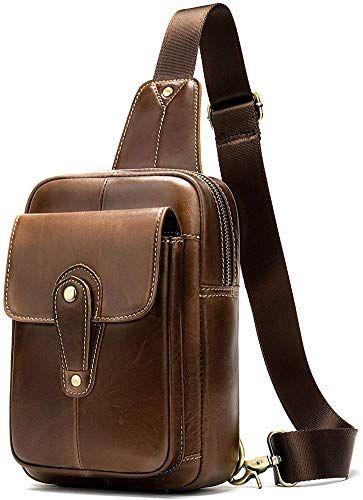"""22/"""" Men/'s Leather Vintage Backpack Shoulder Bag Messenger Bag Rucksack Sling Bag"""