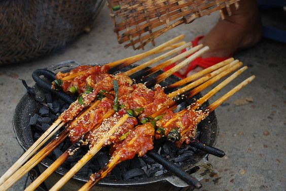 Pork skewers on the grill - Banh Uot hawker