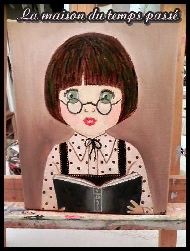 Peinture à l'huile - petite fille studieuse