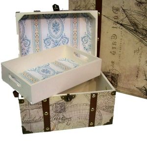 High quality doll storage trunk with faux leather cross straps is reminiscent of old steamer trunks designed and manufactured by us, The Queen's Treasures.   The doll storage trunk measures 9 inches x 6 inches x 7.5 inches. The doll clothes storage chest has a removable tray for organized doll accessory storage.  Sturdy wood with attractive VINTAGE MAP paper design.  Matching large size doll storage trunk also available.