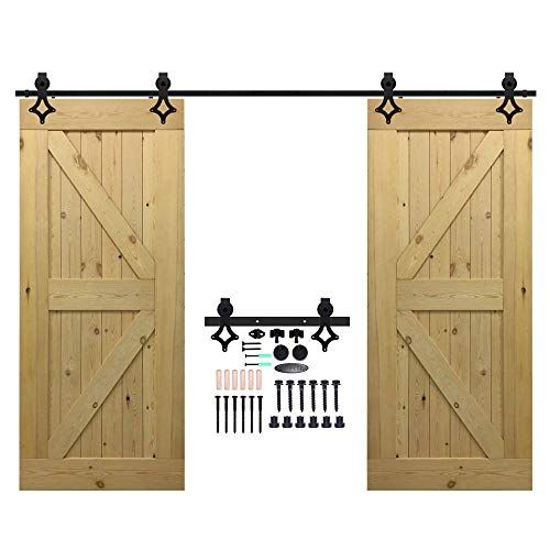 Need Longer Rail Than The Kit Homacer Sliding Barn Door Hardware Standard Double Door Kit 11f Glass Barn Doors Double Barn Doors Sliding Barn Door Hardware