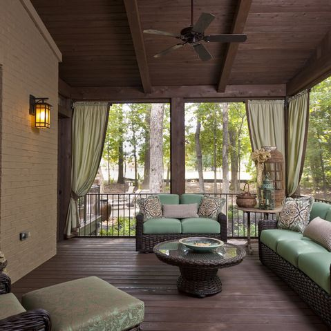Like The Curtains Patio Decks Pinterest Screened Porches Porches And Curtains