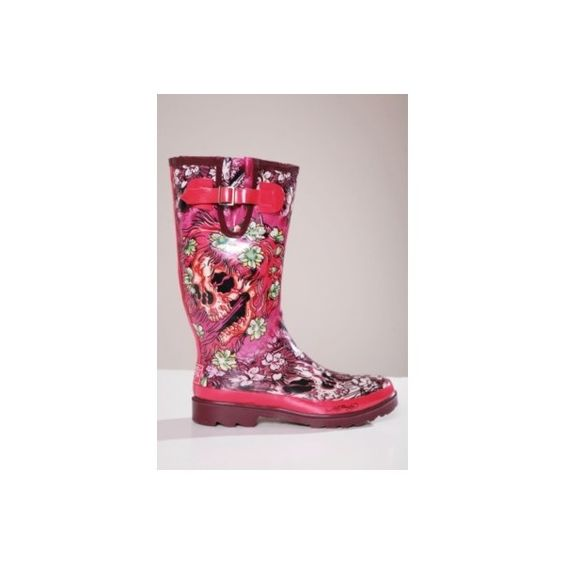Ed Hardy Fuchsia Ghost Skull Rain Boot. Can someone buy me these ...