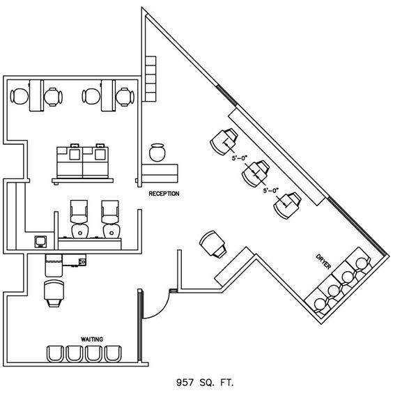 Barber Shop Floor Plan Design Layout - 957 Square Foot | 012 ...