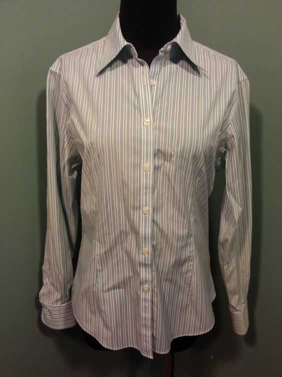 Brooks Brothers Fitted Non Iron Blue Green White Striped Cotton Dress Blouse 6