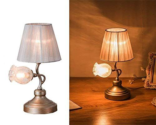 Salsa Lighting Crafted Table Lamp Colored Pomegranate Flower Accen Shaped Glass Shade Cloth Shade Desk Lamp With Bronz Shade Cloth Craft Table Diy Lamp Shade