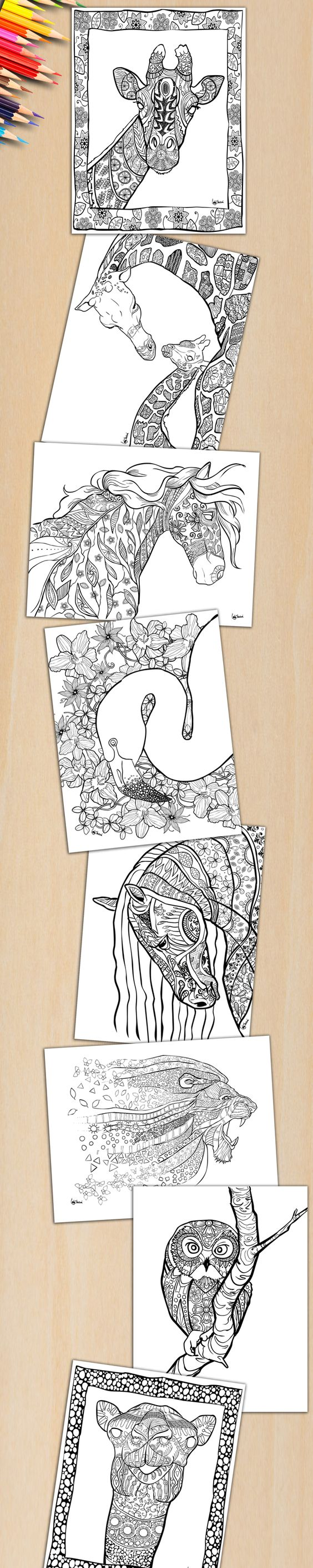 Colorful coloring book for adults download - If You Love Animals You Will Love These Beautiful Coloring Pages Which Animal Would Like To Color First Download This Adult Coloring Book