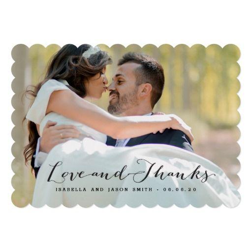 BLACK CALLIGRAPHY WEDDING PHOTO THANK YOU CARD Elke Clarke at – Zazzle Wedding Thank You Cards