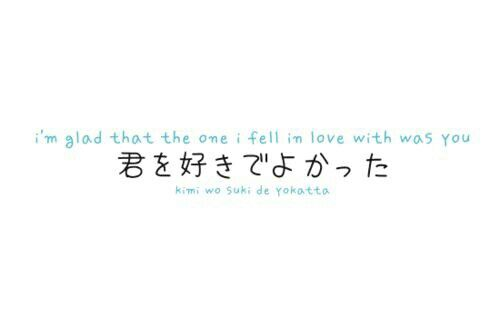i'm glad that the one i fell in love with was you - kimi wo suki de yokatta