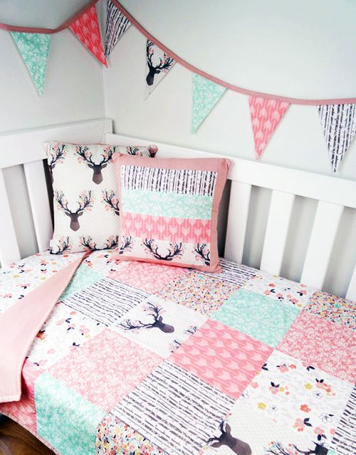 Deer Baby Crib Bedding In Pink And Mint, Pink And Mint Nursery Bedding