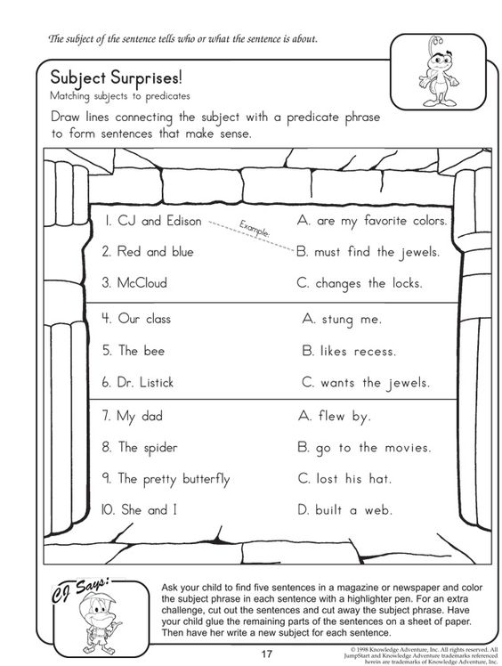 Subject Surprises - English Worksheet on Subject and Predicate