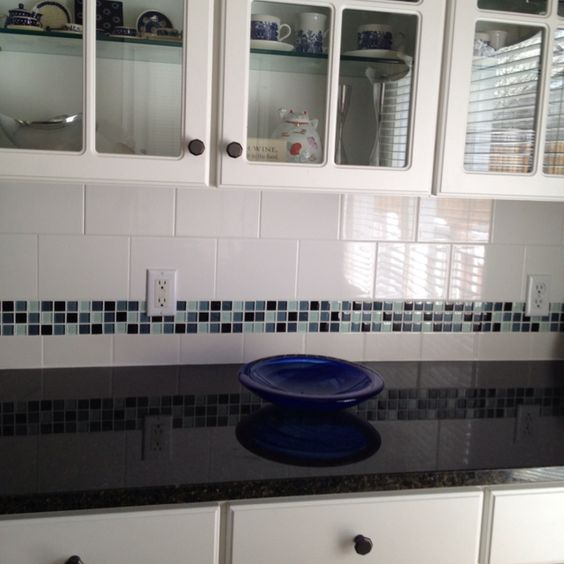 glass tile border on backsplash uba tuba granite i like