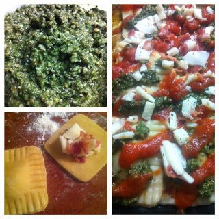 Bacon Pesto Pizza Ravioli and a Spinach Pecan Pesto Recipe