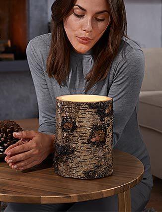 Birch wood LED candle