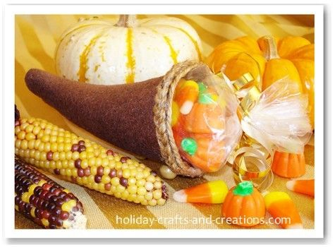 jute cornucopia | These mini cornucopias would also be fun to fill with a bag of candy ...