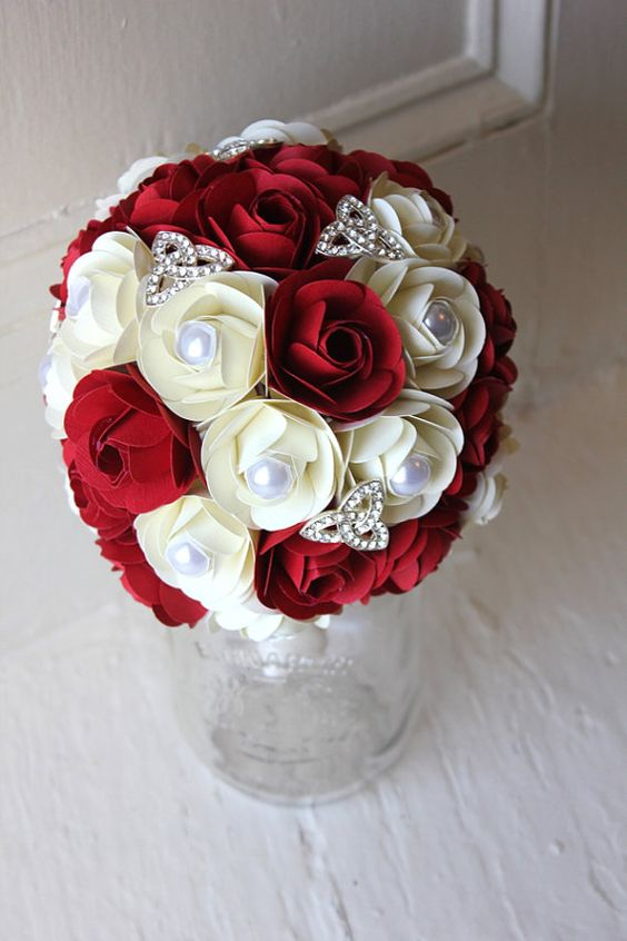 Paper Flower Bouquet Wedding Red White Paper by TheLittleRedButton,