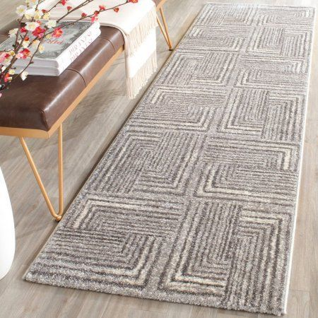 Safavieh Porcello Oraline Polypropylene 2'4 inch x 6'7 inch Runner Rug, Light Grey/Dark Grey, Gray