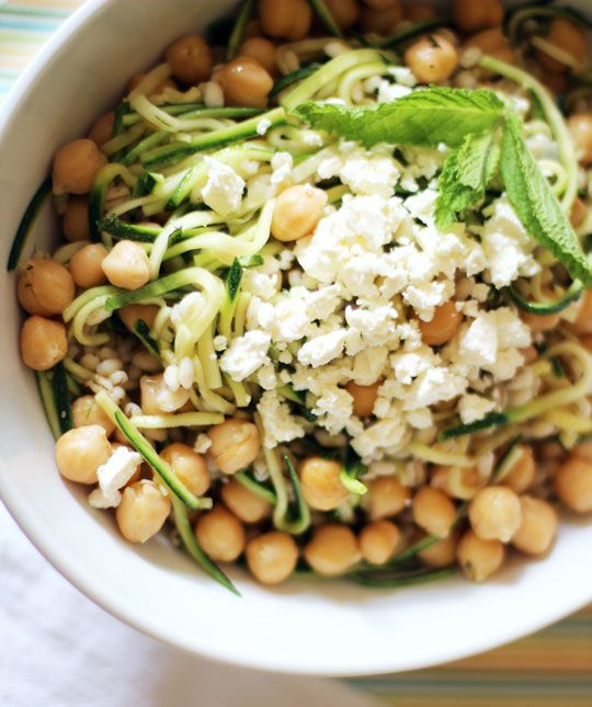 Chickpea, barley, and zucchini ribbon salad with mint and feta. Yum!
