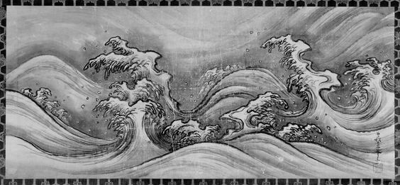 Waves. Nami zu 波図 17th century Attributed to Soga Nichokuan (Japanese, active about 1625–1660)