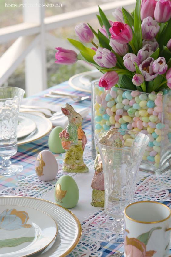 21 Beautiful Easter Table Settings - Easter table with bunnies eggs and tulips in & 21 Beautiful Easter Table Setting Ideas - jane at home